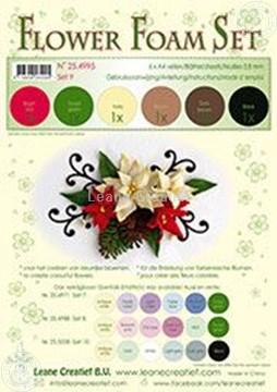 Afbeeldingen van Flower foam set 9 bruin/rood/groen