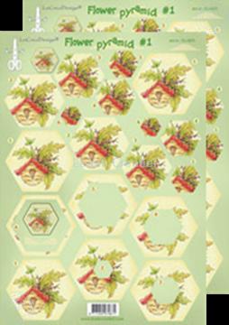 Afbeeldingen van Piramide bloemen knipvellen #P1