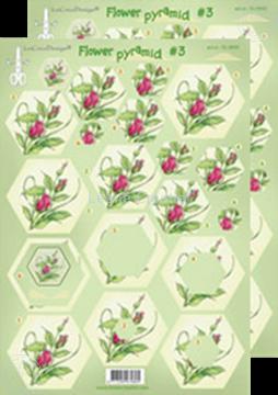 Afbeeldingen van Piramide bloemen knipvellen #P3