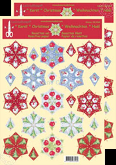 Afbeelding van Kerst rozetten knip/snijd vel divers