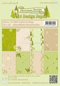Image de Feuilles décorées Noël Green & Beige A5