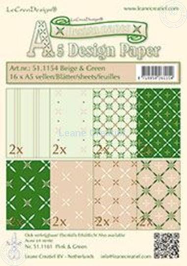 Image sur Feuilles décorées beige & vert A5