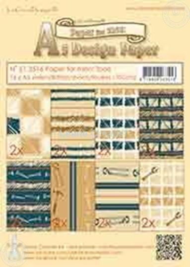 Image sur Design Paper Men tools blue/brown