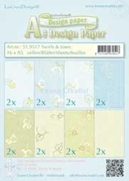 Afbeeldingen van Design papier Swirls & Roses A5