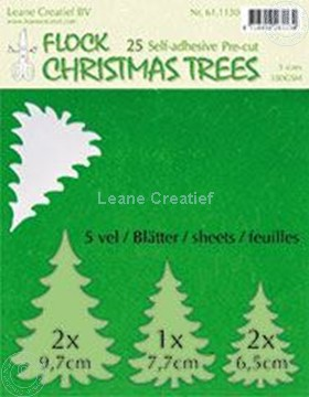 Picture of 25 green Flock trees pre-cut & self-adhesive