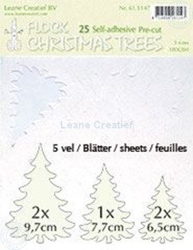 Picture of 25 white Flock trees pre-cut & self-adhesive