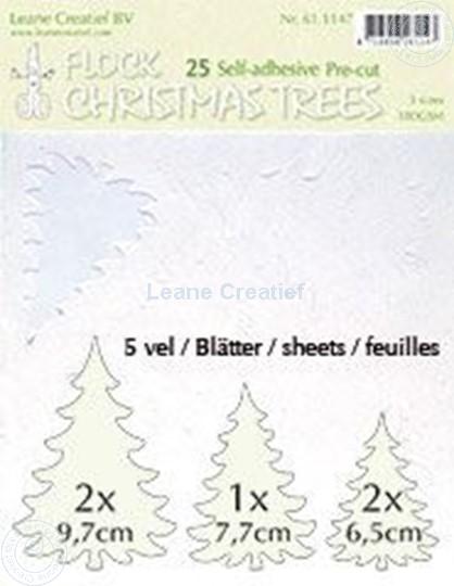 Afbeelding van 25 white Flock trees pre-cut & self-adhesive