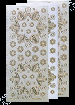 Afbeeldingen van Kerst stickers Pearl silver goud sneeuwvlok