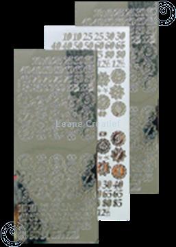 Image de LeCreaDesign® sticker de numéros d'anniversaires miroir d'argent