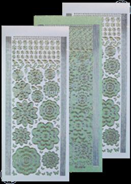 Image de LeCreaDesign® Sticker fleurs green/silver