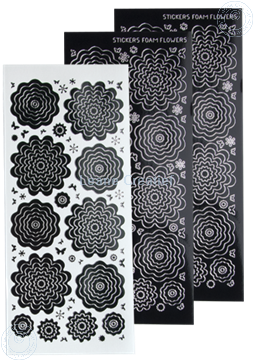 Bild von Nested Flower Sticker black silver