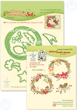 Afbeeldingen van Set Stamp & Contour Die Wreath X-mas