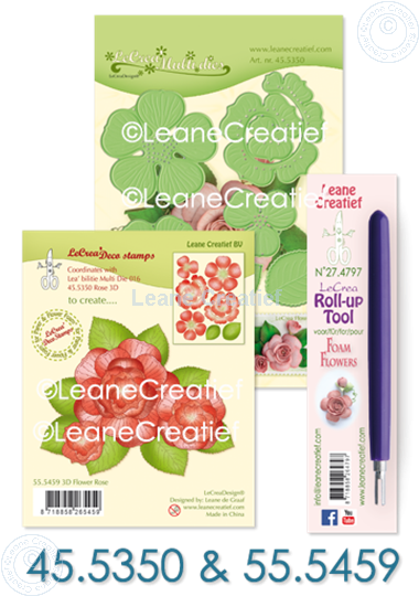 Afbeelding van Set Multi die & Clearstamp Rose & Roll-up tool
