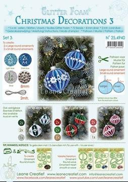 Afbeeldingen van Glitter Foam Kerstbal decoratie Set 3