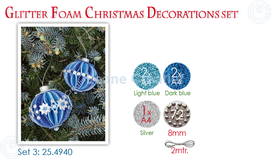 Picture of Glitter Foam Christmas Decorations Set 3