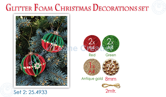 Picture of Glitter Foam Christmas Decorations Set 2