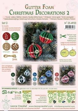 Afbeeldingen van Glitter Foam Kerstbal decoratie Set 2