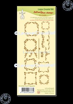 Afbeeldingen van LeCreaDesign® combi clear stamp Swirl Vierkanten