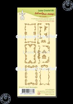Afbeeldingen van LeCreaDesign® combi clear stamp Swirl Rechthoeken