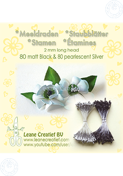Afbeeldingen van Meeldraden 2mm,  80 matt black & 80 pearl  silver