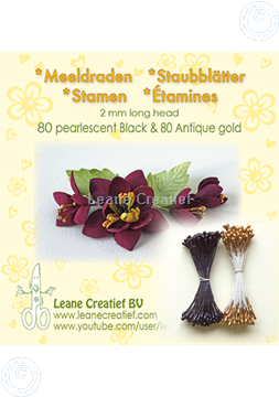 Picture of Stamen 2mm,  80 pearl black & 80 antique gold