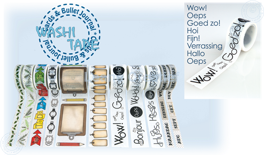 """Picture of Washi tape Dutch sentiments 1 """"Wow"""", 25mm x 5m."""