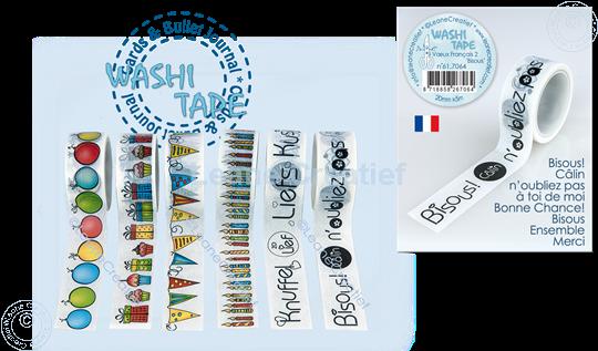 """Image sur Washi tape Vœux Français 2 """"Bisous"""" 20mm x5m."""
