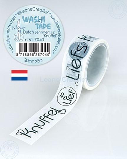 """Afbeelding van Washi tape Nederlandse woorden 2. """"Knuffels"""", 20mm x 5m."""