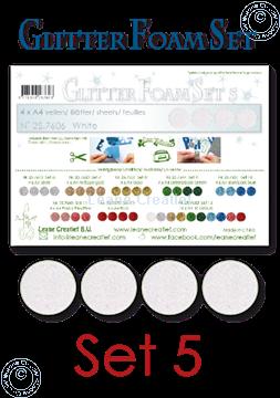 Afbeeldingen van Glitter Foam set 5, 4 vellen A4 Wit