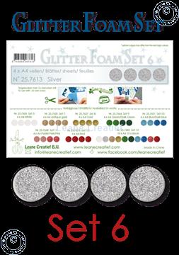 Afbeeldingen van Glitter Foam set 6, 4 vellen A4 Zilver