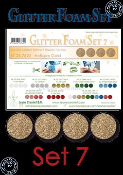 Afbeeldingen van Glitter Foam set 7, 4 vellen A4 Antiek goud