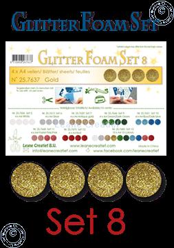 Afbeeldingen van Glitter Foam set 8, 4 vellen A4 Goud