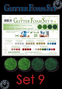 Afbeeldingen van Glitter Foam set 9, 4 vellen A4 2 groen & 2 donker groen