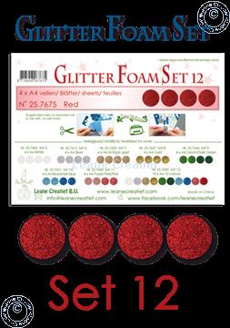 Afbeeldingen van Glitter Foam set 12, 4 vellen A4 Rood