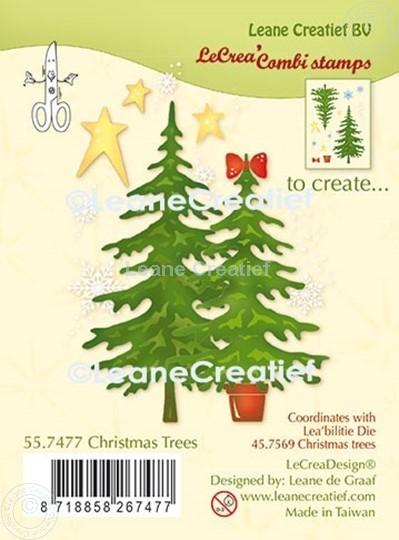 Afbeelding van LeCreaDesign® combi clear stamp Kerstbomen